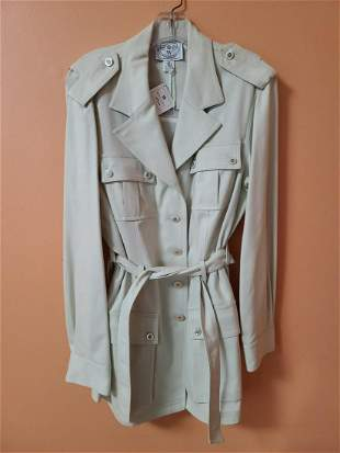 Vtg Wanthe Fitted Silk Wool Blend Trench
