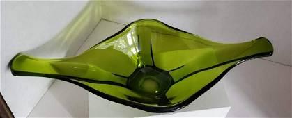 Large Vintage Viking Glass Green Centerpiece