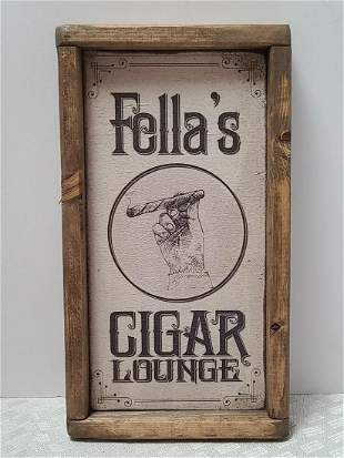 """Handmade Wooden Cigar Sign 13x8"""""""