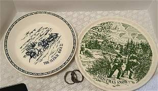 Currier & Ives Repro Plates & Napkin Rings