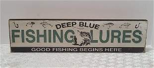 Fishing Lures Wooden Sign 16x4