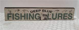 Fishing Lures Wooden Sign 16x3