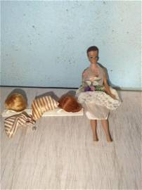 Vintage barbie Doll with Various Wigs