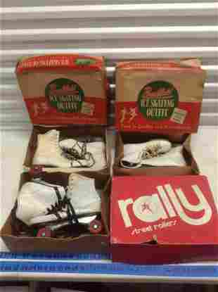 Three Pair of Vintage Roller Skates and Ice Skates with