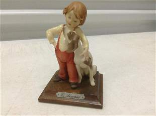 "G. Armani Boy and Dog Statue 4.5"""
