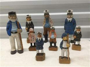 """Large lot of Nautical Wood Carved Figures tallest 7"""""""