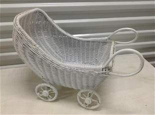 """White Wicker Carriage 19"""" long"""