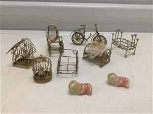 Lot of Miniature Metal Dollhouse furniture