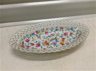 """Signed """"Germany"""" Reticulated Floral Porcelain Dish 10"""""""