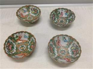 """Set of Four Early """"Rose Medallion"""" Bowls"""