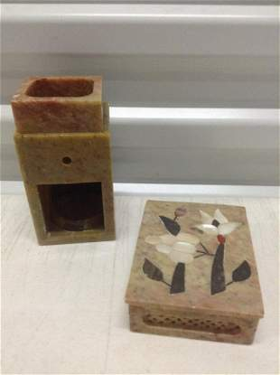 Vintage Soapstone with Inlaid Mother of pearl Box and
