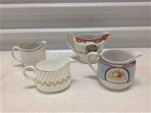 Four Vintage Noritake, Minton Porcelain Creamers