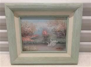 "Artist Signed Oil on Board Pastels Swans 15""x13"""