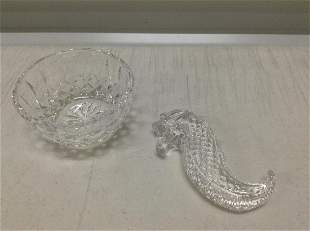 """Waterford Crystal Seahorse 3.5""""and bowl"""