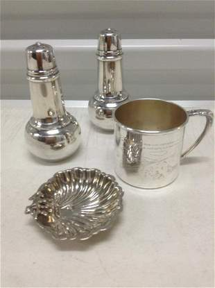 Vintage Silverplate S&P, Baby Cup and trinket dish