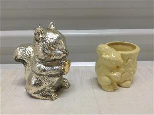 """Vintage Squirrel Bank and Small Planter 5"""""""