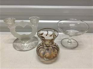 Vintage Silver overlay Candleholder, compote and vase