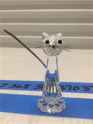 """Signed Swarovski Crystal Cat 3"""" tall"""