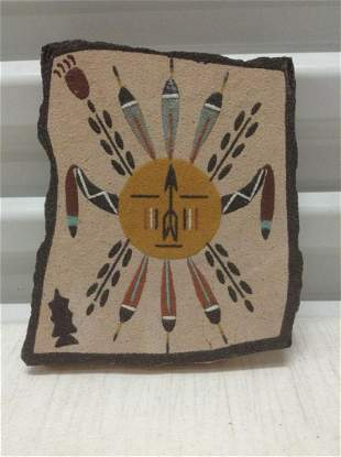 """Signed & Dated American Indian """"Sand Painting"""" 7""""x6"""""""