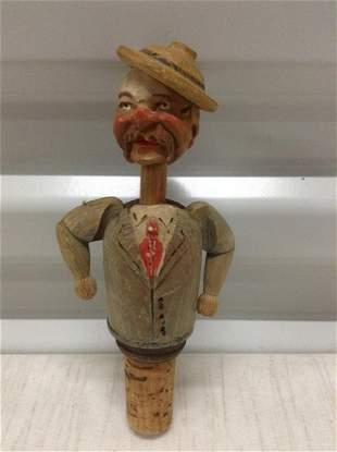 "C. 1930s ""Anri"" Italy Figural Bottle Cork 6"""