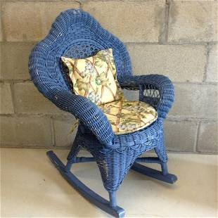 """Blue Children's Whicker rocking chair with cushions 28"""""""