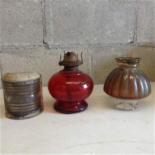"""Oil lamp and lantern lamp with top is 13"""" tall"""