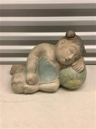 """Asian girl wood carved statue 15"""" x 10"""""""