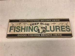 """wooden fishing lures sign 5"""" x 16"""""""