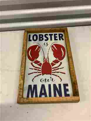 """wooden Maine lobster sign 15"""" x 9.25"""""""