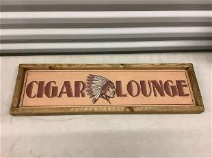 """wooden Cigar Lounge sign 7.5"""" x 25.25"""""""