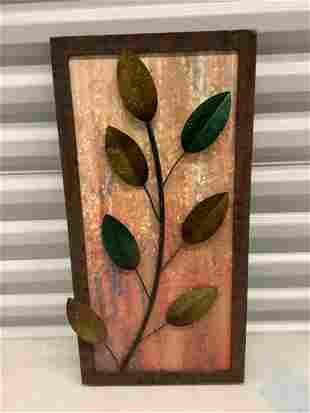 """framed metal leaf wall decoration 22"""" x 11"""""""