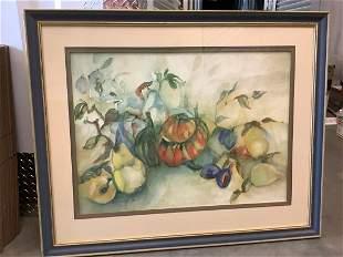 "Framed signed watercolor fruit print 33.75"" x 41.5"""