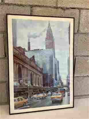 "framed city painting print 30.25"" x 21.25"""