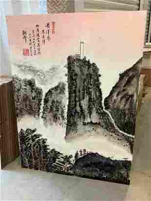 original asian landscape oil painting on corrugated