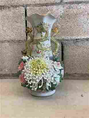 """ceramic vase with gold accents 12.5"""""""