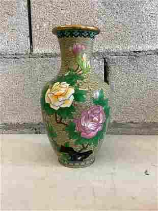 "cloisonne vase 10.5"""