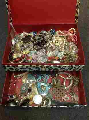 Jewelry Box full of Vintage and other Costume Jewelry
