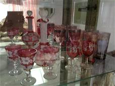 Vintage Cranberry and White Frost Glass Decanter Set
