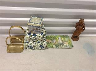 Wood statue, boxes and more