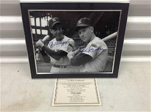 Joe Dimaggio/Mickey Mantle signed photo 8x10 framed w/