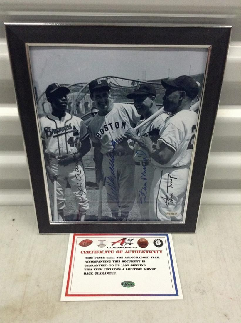 Aaron/Williams/Musials/Mays signed photo 8x10 framed w/