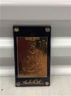 Babe Ruth 24k gold baseball card w/ COA