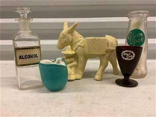 """Ceramic Donkey, """"Alcohol"""" Bottle, Royal Ruby Shot"""