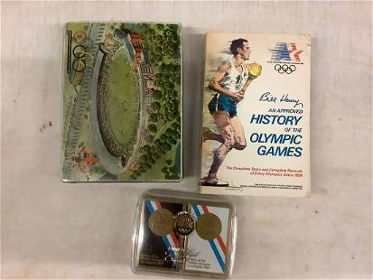 Olympic Games lot book, vintage tin and 1984 card deck
