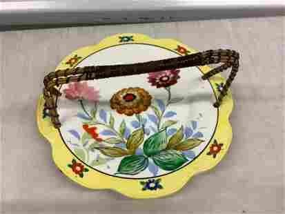 Vintage Japan Floral Porcelain Serving tray with handle
