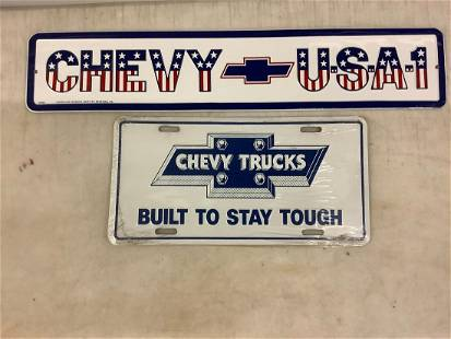 Pair of vintage chevy signs