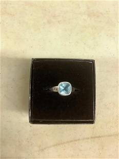 Sterling Ring Engraved Believe w/ Blue Tourmaline stone
