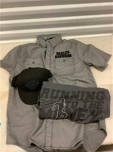 Harley Davidson Hat, button down shirt and more