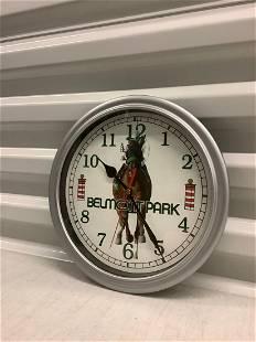 Circa 1980s Belmont Park Racetrack Adv. Wall Clock -