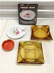 Lot of Vintage Amber and other Ashtrays